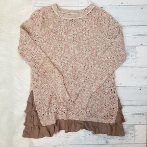 •Knox Rose• Long Boho Ruffled Hem Sweater
